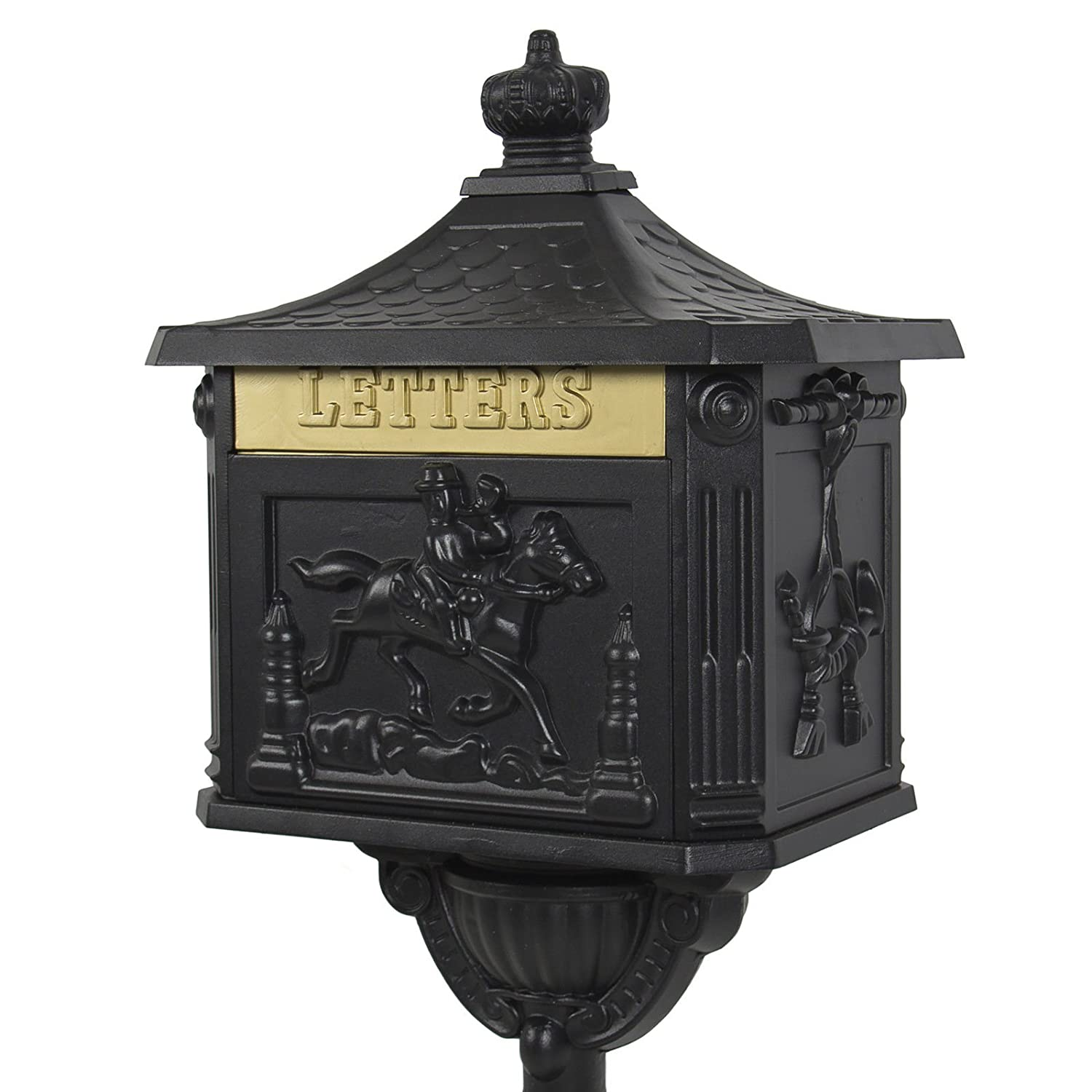 Amazon.com : Mailbox Cast Aluminum Black Mail Box Postal Box Security Heavy Duty New : Garden & Outdoor