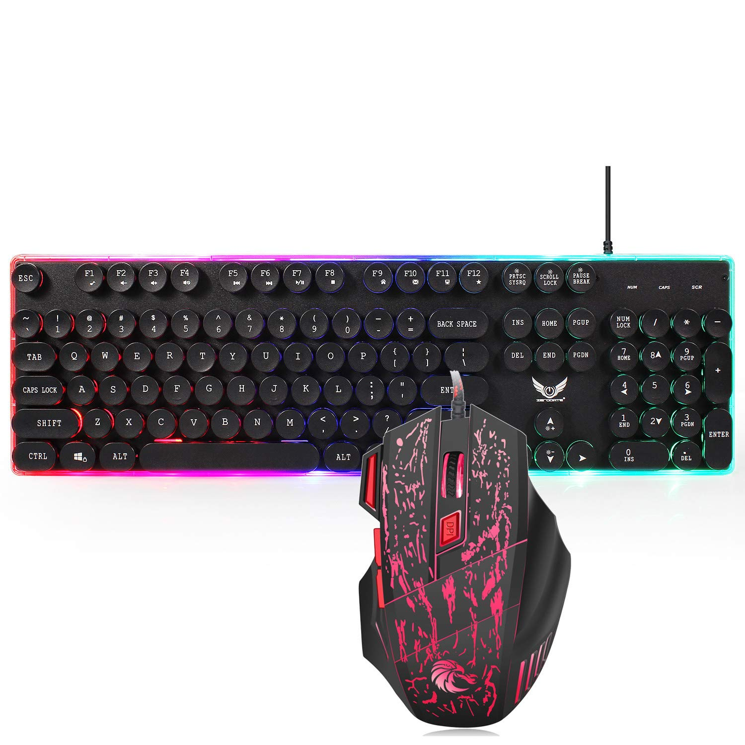 Game Keyboard and Mouse,Sunsee ZERODATE J40 Wired Keyboard Mouse 104 Keys Ergonomic for Typing Games Compatible by SUNSEE ELECTRONICS (Image #3)