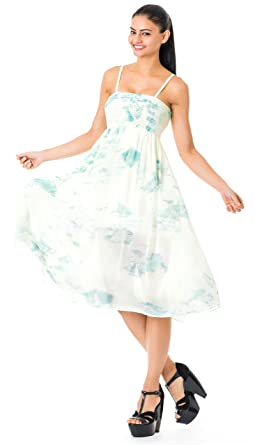 561917059ef5 ... Femabella) IgorBella White Light Blue Shade Casual Formal Floral Print  Party Cocktail Evening Party Knee Lenght Midi Dress: Amazon.co.uk: Clothing