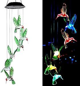 X-GiftKey Hummingbird Solar Lights Wind Chimes String Lights Changing Colors Six LED Hummingbirds Lights Solar Hanging Chimes Lights for Home Night Garden Gifts for Mom/Grandma