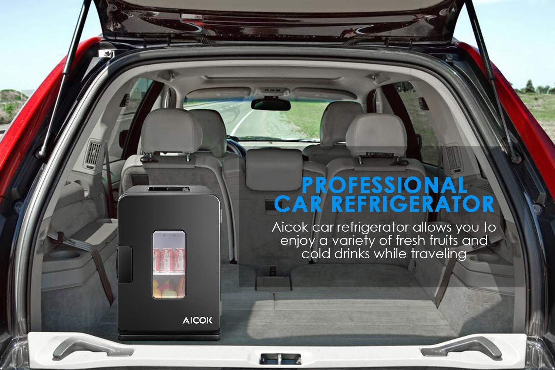 AICOK - Nevera eléctrica para Coche, 12 V CC / 220 - 240 V CA, 15 L, portátil, para Viajes, Camping, Color Negro: Amazon.es: Coche y moto