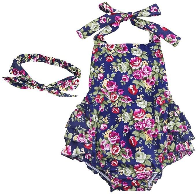 9383213d8 iEFiEL Pelele de Flores de Cerezas Mono para Bebé Niña Fiesta Bautizo  Cuello Haltar Estilo de Vestido Algodón con Banda de Cabeza  Amazon.es   Ropa y ...