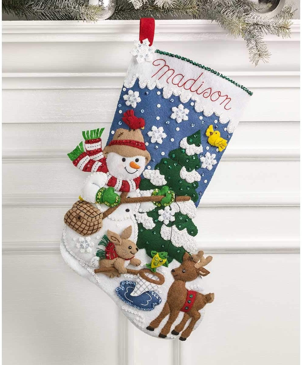 Bucilla Ice Fishing Snowman Felt Applique Stocking Kit