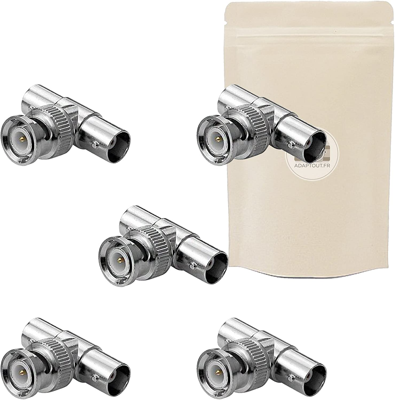 5X Adaptador BNC T coxial duplicador Splitter Conector Video s-Video