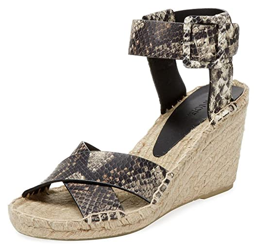 Stefania Lizzard-Embossed Leather Espadrille Wedge (10 US)
