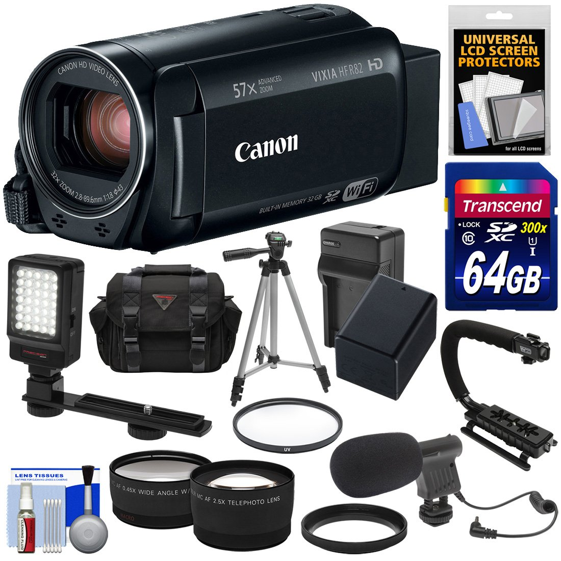 Canon Vixia HF R82 32GB Wi-Fi 1080p HD Video Camera Camcorder + 64GB Card + Battery & Charger + Case + Tripod + Stabilizer + LED + Mic + 2 Lens Kit