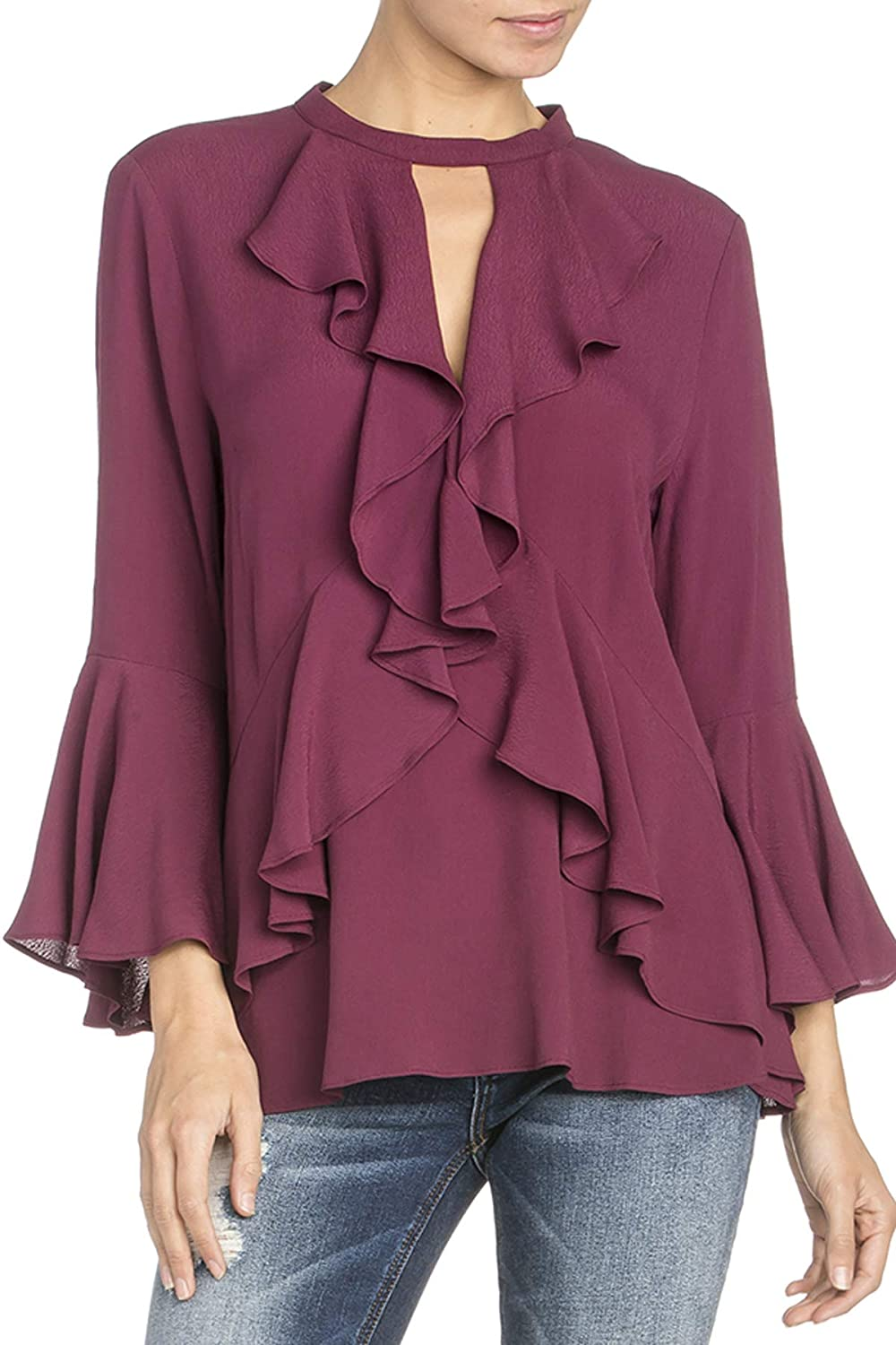Miss Me MMT0401L Plum Purple Keyhole Ruffle Bell Sleeve Top