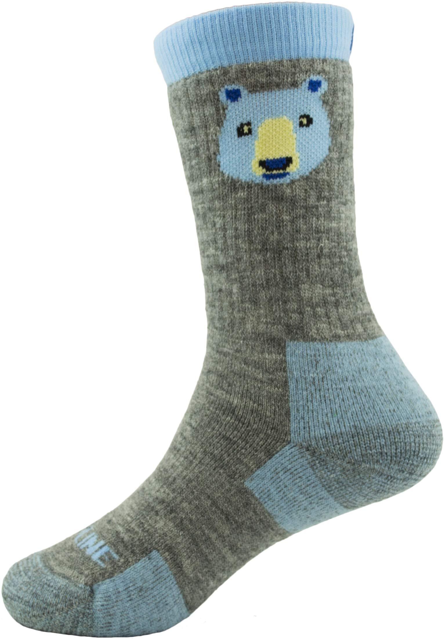 CloudLine Merino Wool Kid's Spirit Animal Socks - 2 Pack - Blue Bear - Size Y-XS - Made in USA