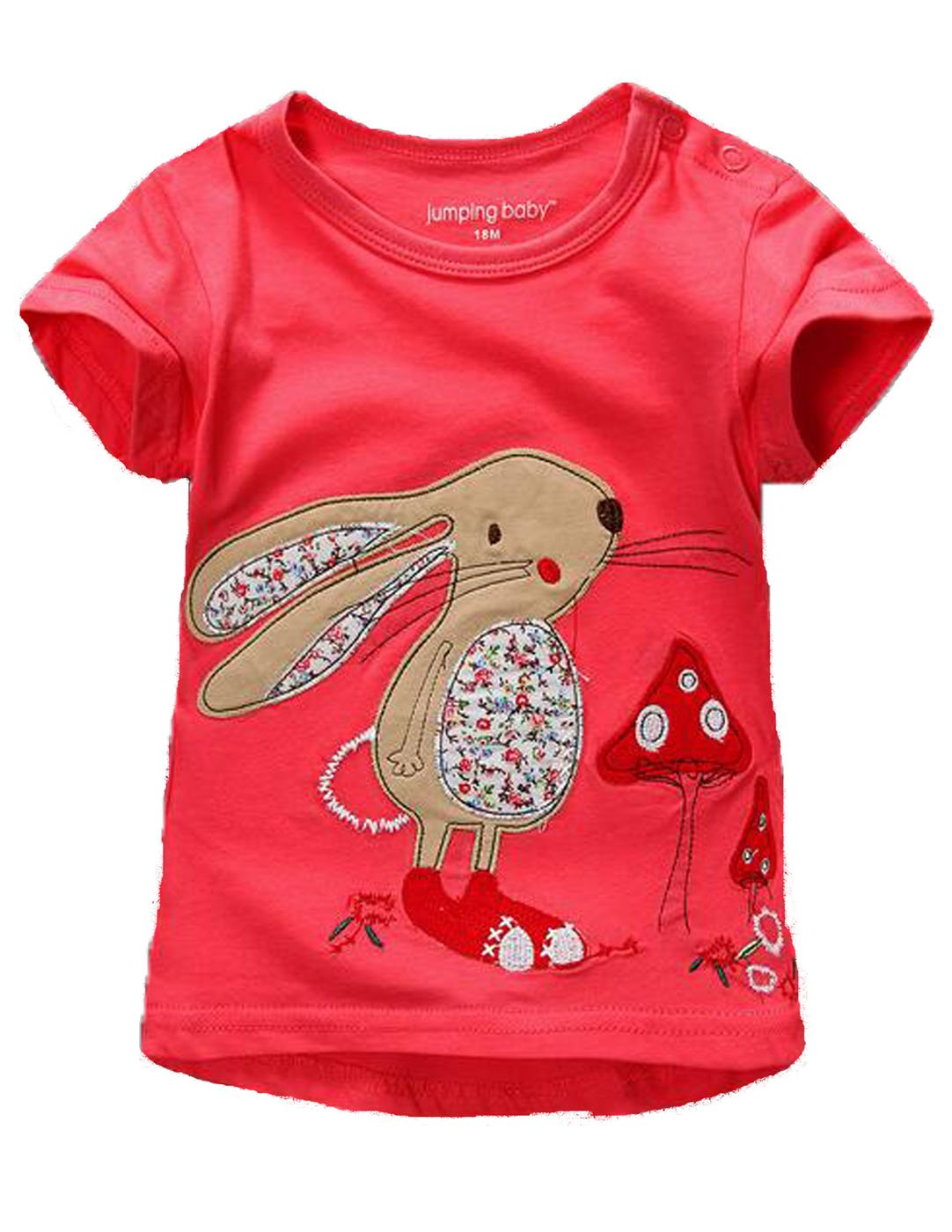 Summer Baby Girls T Shirt Cartoon Rabbit Print Cotton Tops Tees T Shirt