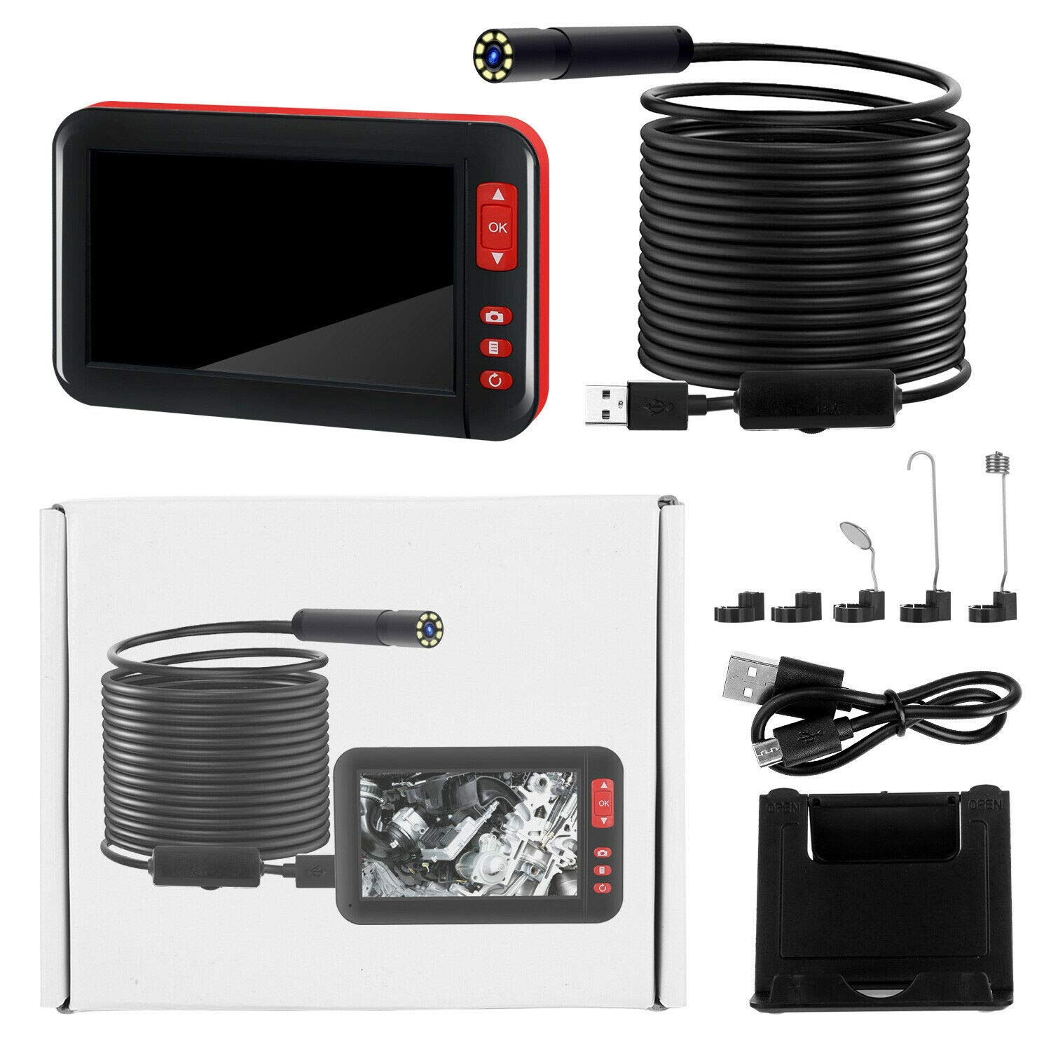 5M SUNWAN USB Rechargable Endoscope 1080P HD Inspection Cameras with 8Leds Probe Industial Borescope 8mm Tube 4.3 LCD Screen F200 Waterproof