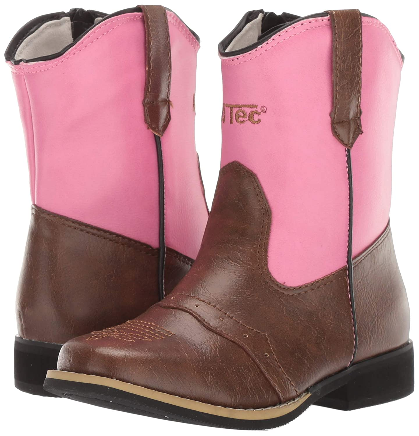 6 M US Toddler Pink AdTec Girls Western Classic Rodeo Boots with Pointed Toe