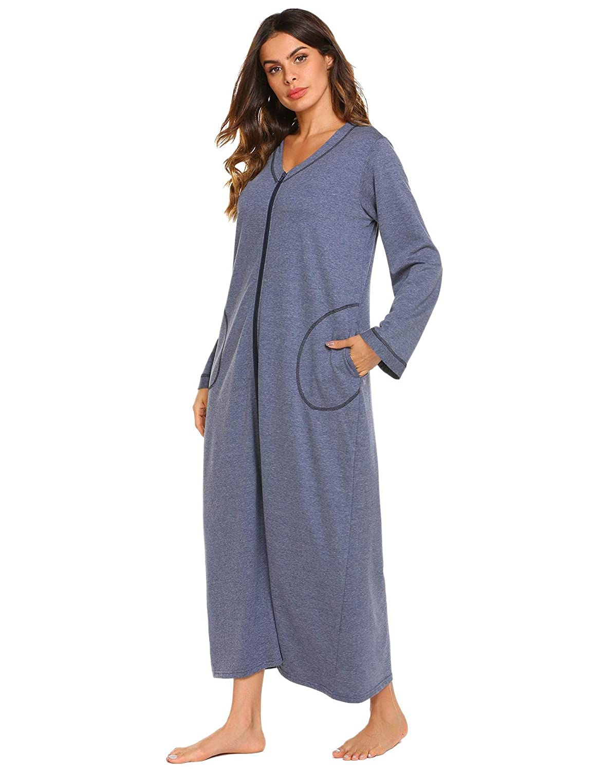 95ea81ade0d Soft and comfy sleeping gown nightwear features V-neck,long sleeve pajamas,full  front zipper closure type,casual style with ...