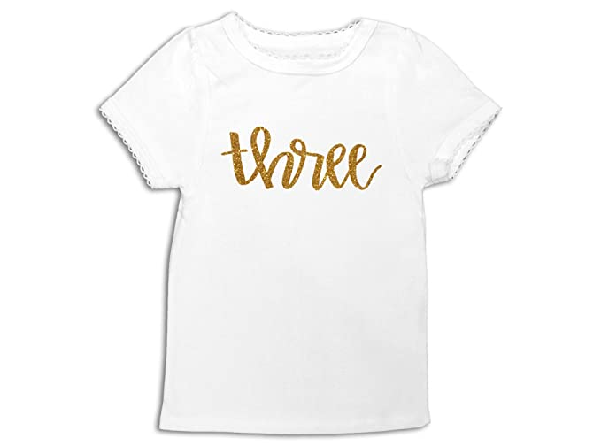 Oliver And Olivia Apparel Third Birthday Shirt 3rd Top Gold Glitter Three 3