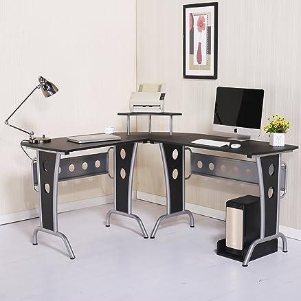 Homcom - Scrivania Angolare per Computer PC da Ufficio in Legno ed ...