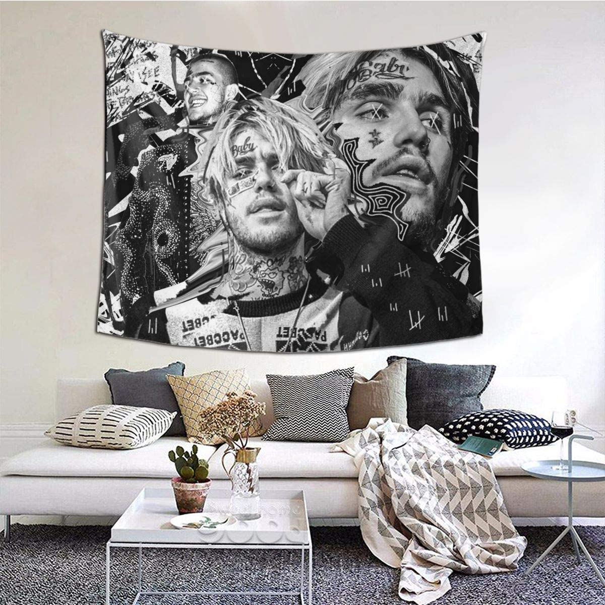LVMD Lil Peep Love Tapestry Wall Hanging Tapestries Wall Blanket Wall Art for Living Room Bedroom Home Decor (60