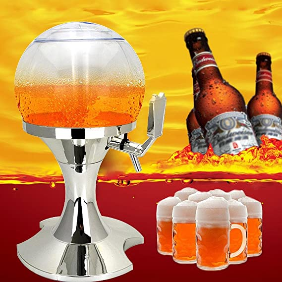 Compra Dispensador de cerveza AOLVO de torre de cerveza de 3, 5 litros, dispensador de cerveza de refrigeración, sin BPA, con compartimento para la bandeja ...