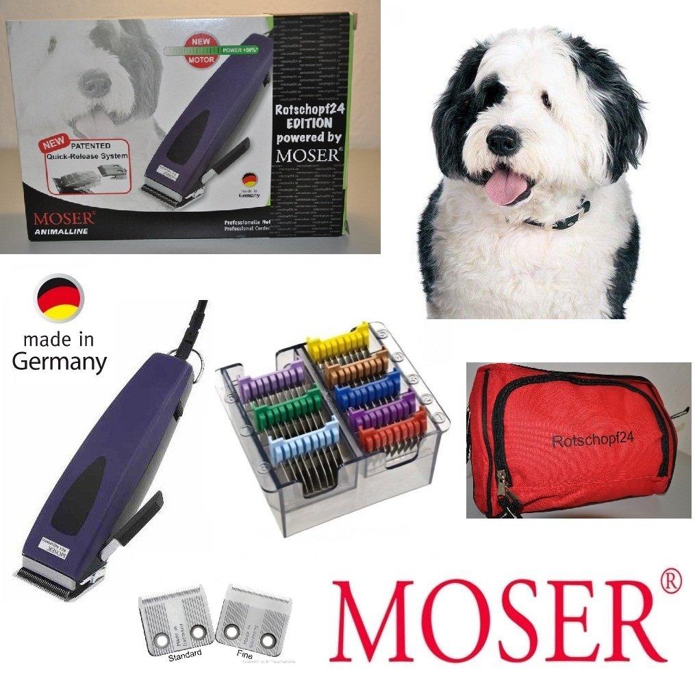 Rotschopf24 Edition: Moser Hundeschermaschine REX 1233 + 8 Metallaufsteckkämme + 1 Feinschneidsatz. Made in BRD!