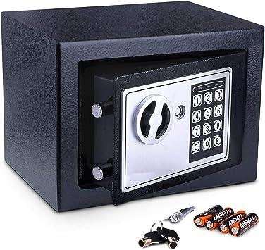 Meykey Caja Fuerte Pequeña Caja Seguridad 230X170X170 mm, Negro ...