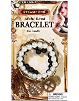 Victorian Steampunk Costume Bracelet Set With Gear Charms