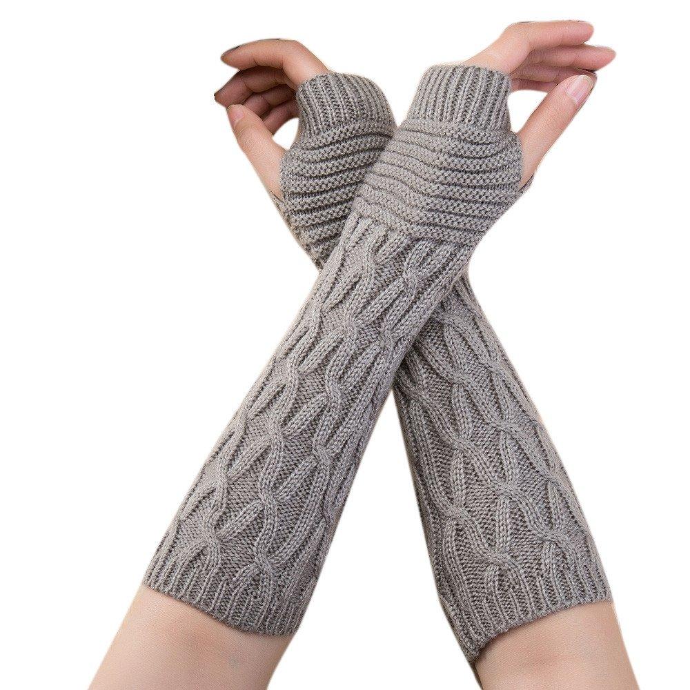 レディース 冬用 暖かい ケーブルニット アームウォーマー 指なし手袋 親指穴付き手袋 編組 指なし手袋 Free(size) グレー B07KGFY49P