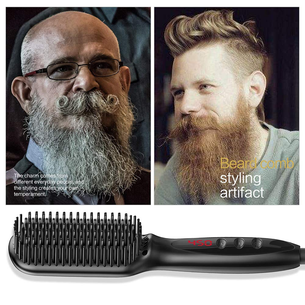 Beard Straighteners , Portable Electric Straightening Irons Comb Wet and Dry Dual Use Anti-Scald Enhanced Faster Heating Ceramic hair straightener brush for Men