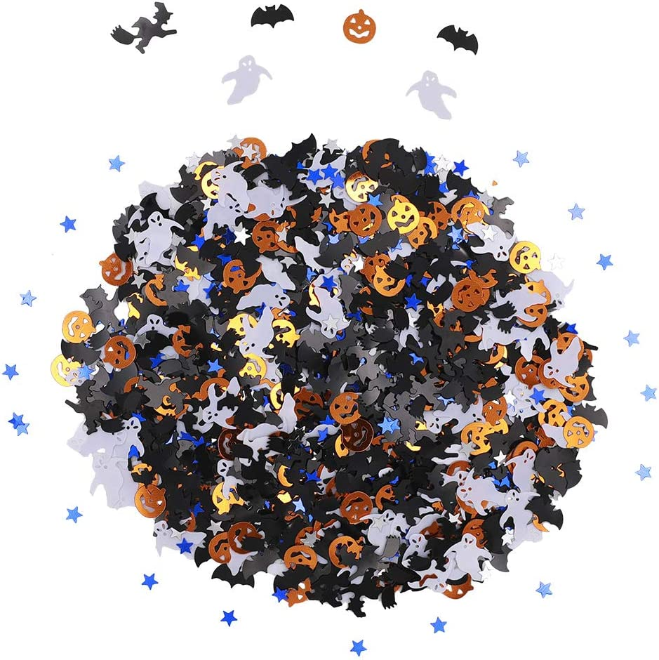 Ucity Halloween Party Confetti Glitter Pumpkins Bats Witches Ghost Star Metallic Sequins Table Scatter for Halloween Table Decorations