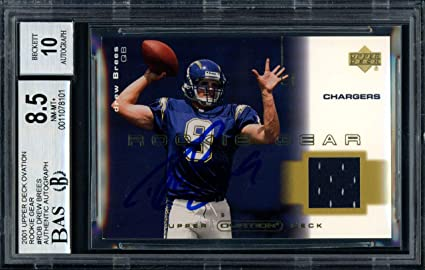 661afe38f Drew Brees Autographed Signed 2001 Upper Deck Ovation Rookie Gear Jersey  Rookie Card  R-