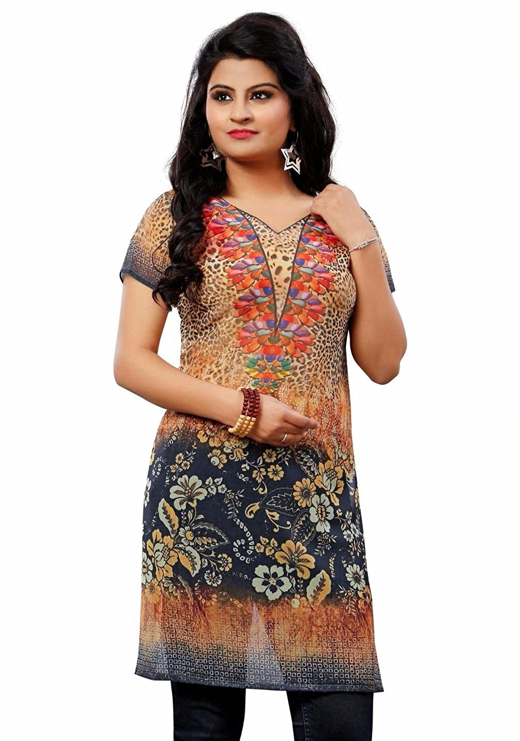 724f390abe9e2 60gram Georgette (Thin Material Without Liner) fabric with Digital Print  Long Kurti tops Tunics Blouse with Slit on the sides.. see thru. Printed  Only.