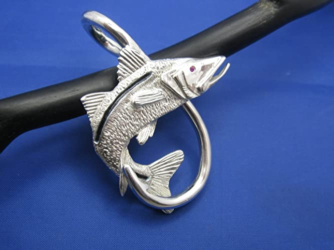 Sterling Silver Curved Snook and Fish Hook Pendant