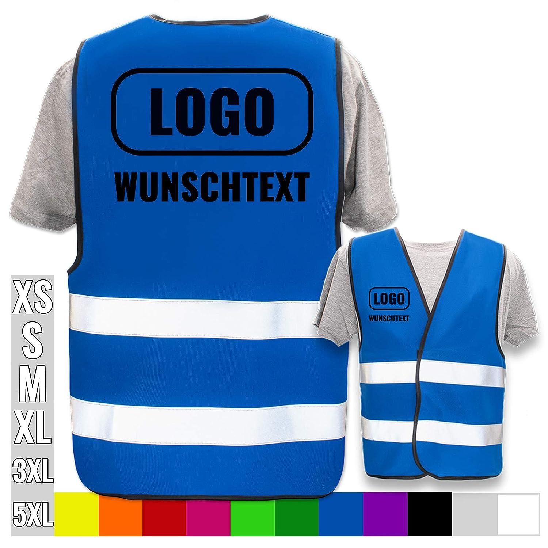 Druckposition:R/ücken Farbe Warnweste:Blau 5XL Hochwertige Warnweste mit Leuchtstreifen * Bedruckt mit Name Text Bild Logo Firma * personalisiertes Design selbst gestalten Brust