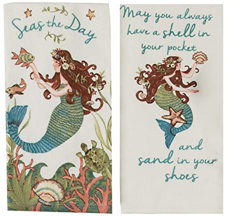Amazon.com: Kay Dee Designs Mermaid Theme Kitchen Towels ...