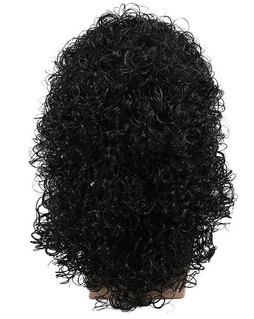 Karlery mens rizado largo negro duro 80 rocker peluca temática fiesta peluca disfraces de Halloween Anime peluca: Amazon.es: Belleza