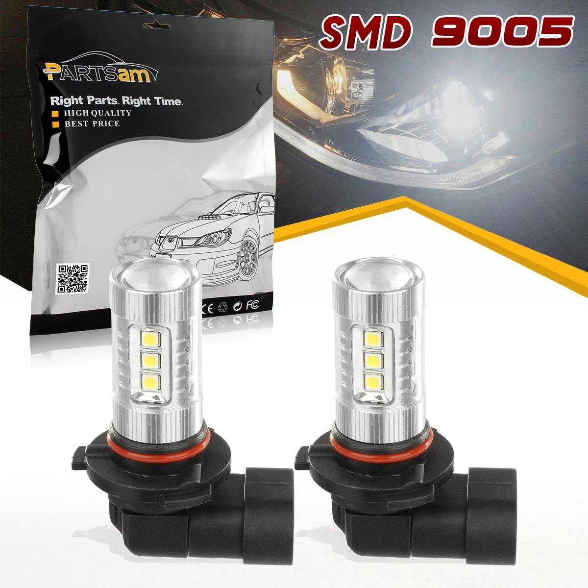 Partsam White High Power 80W 9005 HB3 9040 1200Lumen DRL Daytime Running Bulbs Lights for ACURA TL 2007 2008 2009 2010 2011 2012