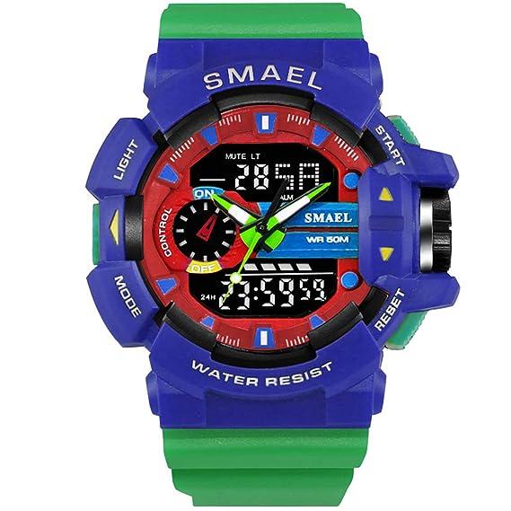 Beydodo Relojes LED Relojes Electronicos Reloj Multifunción Reloj Deportivo Reloj Impermeable Reloj de Doble Pantalla Azul