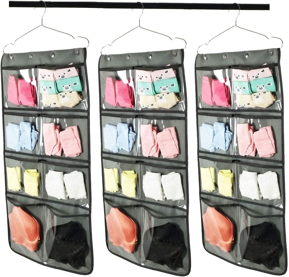 STORBRO Hanging Shelves for Bra,Shoes Sock and Underpants Storage,Closet Hanging Organizer with Dual Sided and Multilayer Mesh Pockets for Bra,Underwear,Bodysuits,1 Packs,Grey