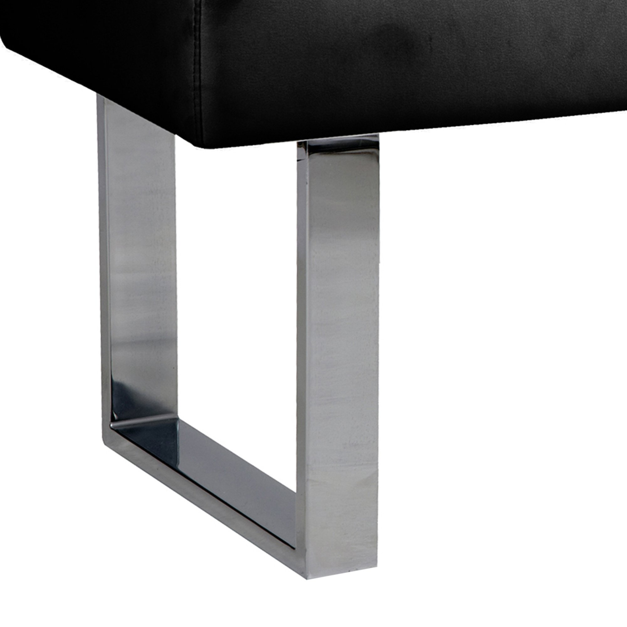 Armen Living LCAMBEBLBCH Amanda Bench in Black and Chrome Finish by Armen Living (Image #4)