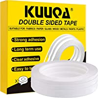 Kuuqa 3 Rolls Double Sided Tape Set Strong Sticky Tape for Office DIY Craft, 30 Meters Long,Wide 6mm/ 9mm/ 12mm
