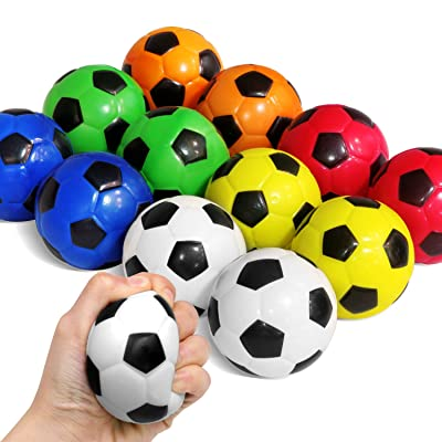 Novelty Place Squeezable Stress Soccers Assorted Colors - Excellent Anti-Stress Balls for Tension Relief - Relaxation Gadgets, Fidget Toys, Party Favors, Carnival Prizes(12 Pack & 6 Colors): Home & Kitchen [5Bkhe0506577]