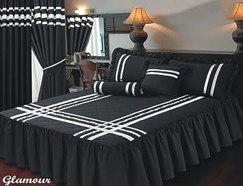 couvre lit simple Lit simple Taille drap Couvre lit Glamour Noir avec garniture  couvre lit simple