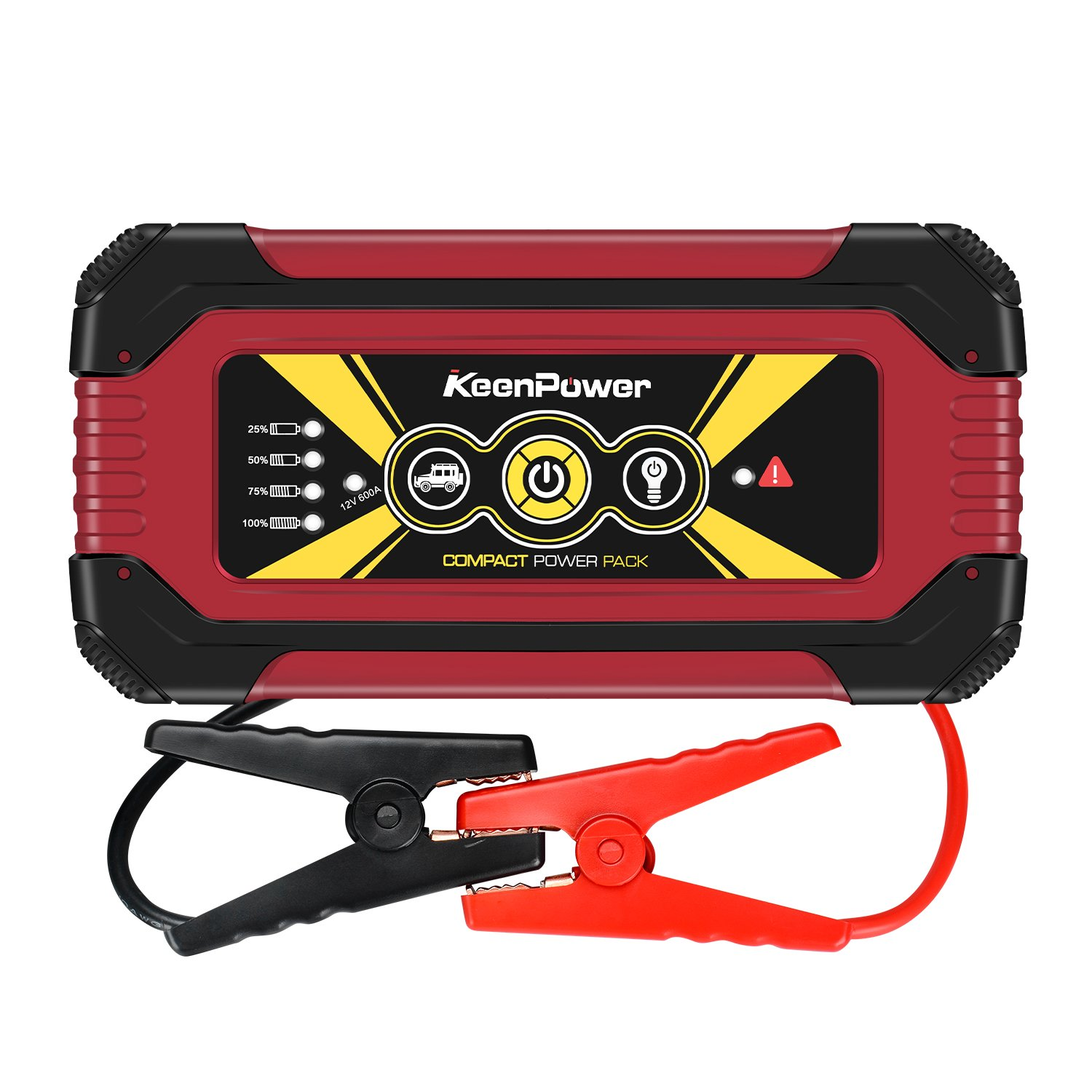 Keenpower Portable Car Jump Starter 600A Peak 12000mAH (Up to 6.0L Gas Engine) Auto Battery Booster Power Pack Phone Power Bank With Smart Charging Ports (600A RED)