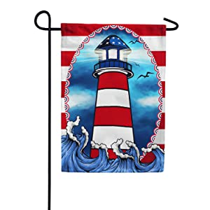 America Forever American Lighthouse Garden Flag - Patriotic Summer Nautical Birds Sea Flag - Yard Outdoor Decorative Double Sided Flag - 12.5 x 18 Inches