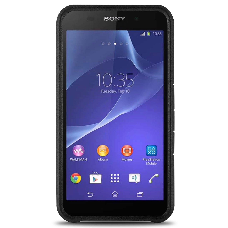 Amazon Xperia E4 Case CoverON [Slim Guard Series] Slim Dual Layer Armor Hard Cover Thin TPU Phone Case For Sony Xperia E4 Black & Black Cell Phones