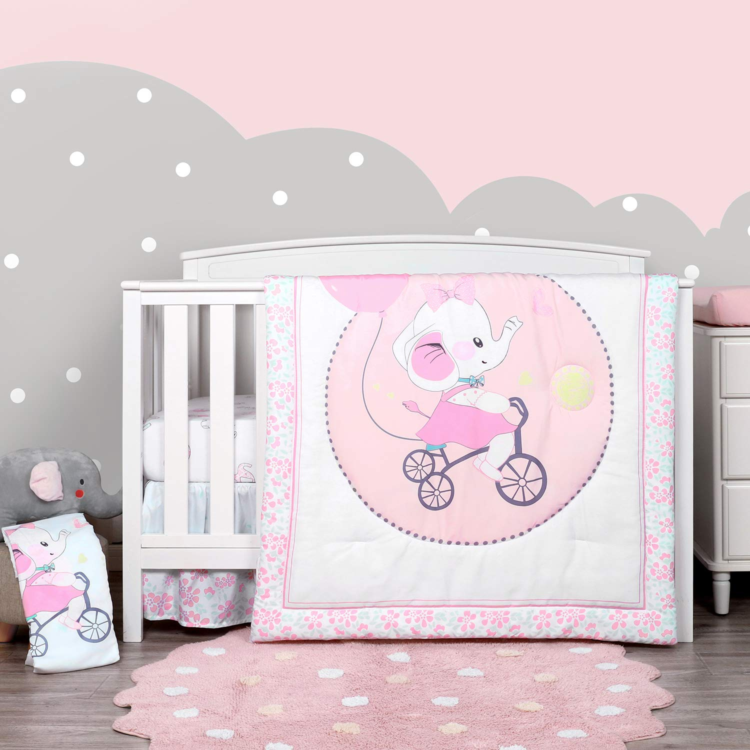 TILLYOU Luxury 4 Pieces Elephant Crib Bedding Set (Embroidered Comforter, Crib Sheets, Crib Skirt) - Microfiber Printed Nursery Bedding Set for Girls - Baby Shower Gift