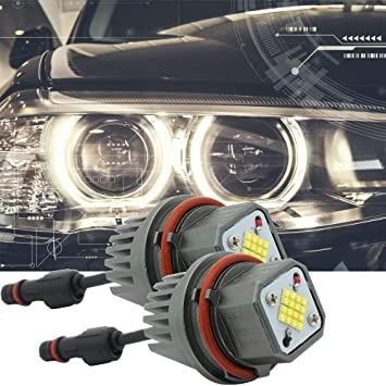 B-M-W 80W LED Marker Angel Eyes Luz antiniebla DRL Bombilla Canbus Error Libre Halo Ring Blanco: Amazon.es: Coche y moto