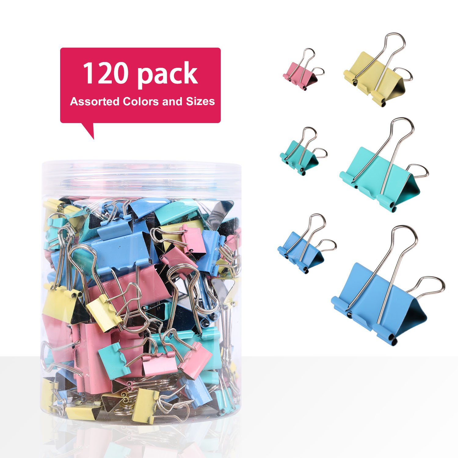 Multi-Colored Assorted Metal Binder Clips