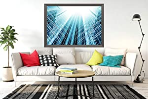 MQPPE Modern City 5D DIY Diamond Painting Kits, Steel Light Blue of Glass High Rise Building Skyscraper Full Drill Painting Arts Set Craft Canvas for Home Wall Decor Adults and Kids, 16 x 20 Inches