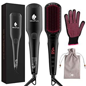 MiroPure Hair Straightener Brush, Ionic Anti-Scald Straightening Comb, Portable Frizz-Free Silky Electric Straightening Brush, Dual Voltage