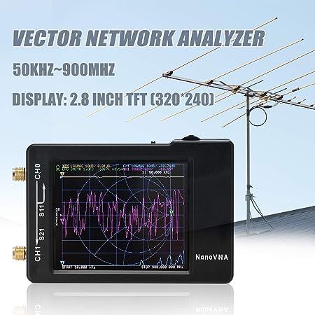 KKmoon Analizador de red portátil de mano Vector 50KHz-900MHz Probador de cables de red Pantalla digital Pantalla táctil de onda corta MF HF VHF UHF ...