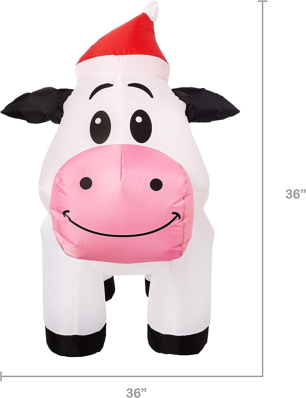 Amazon.com: Gemmy - Vaca de Navidad hinchable con gorro de ...