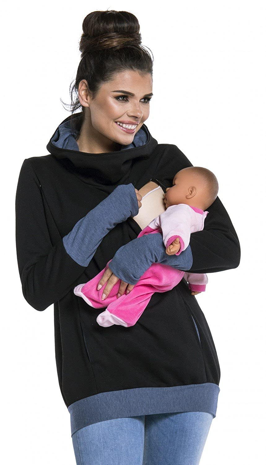 Zeta Ville - Womens breastfeeding top sweatshirt hoodie - nursing panel - 330c nursing_top_330
